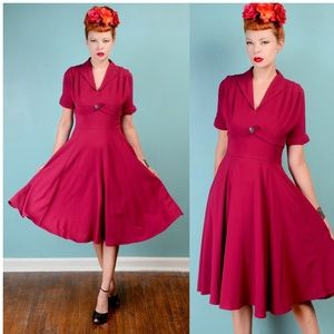 Hell Bunny Dresses - Hell Bunny magenta crepe swing dress